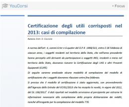 Certificazione degli utili corrisposti nel 2013