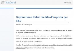 Destinazione Italia: credito d'imposta per R&S