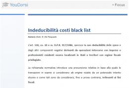 Indeducibilità dei costi Black List