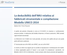 Deducibilità dell'IMU relativa a fabbricati strumentali