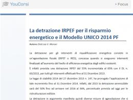 La detrazione IRPEF per il risparmio energetico nel modello UNICO 2014 PF
