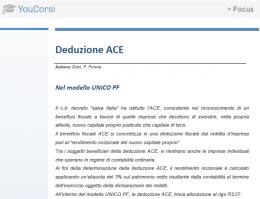 L'ACE e il modello unico PF
