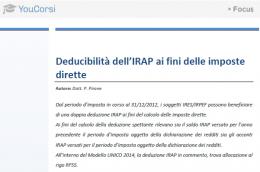 Deducibilità dell'IRAP ai fini delle imposte dirette e modello UNICO 2014