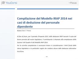 Compilazione del modello IRAP 2014 per deduzioni del personale dipendente