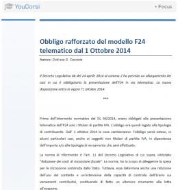 Obbligo rafforzato nel modello F24 telematico dal 01.10.2014