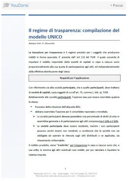 Il regime di trasparenza: compilazione del modello UNICO