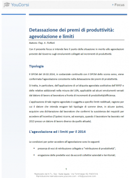 Detassazione dei premi produttività: agevolazioni e limiti