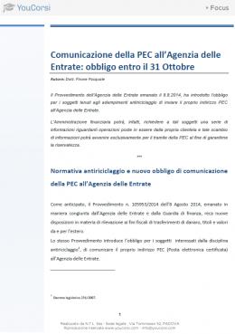 Comunicazione PEC all'Agenzia delle entrate: obbligo entro il 31 Ottobre