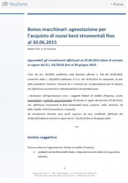 Bonus macchinari: agevolazione per l'acquisto di nuovi beni strumentali fino al 30.06.2015