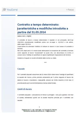 Contratto a tempo determinato: caratteristiche e modifiche introdotte a partire dal 31.03.2014