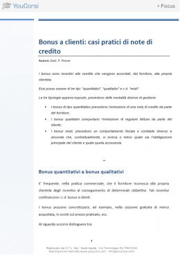 Bonus a clienti: casi pratici di note di credito