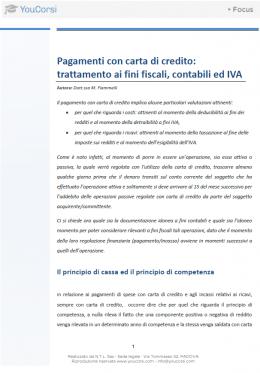 Pagamenti con carta di credito: trattamento ai fini fiscali, contabili e IVA
