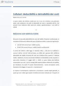 Cellulari: deducibilità e detraibilità dei costi