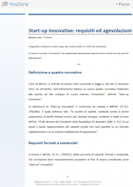 Start-up innovative: requisiti e agevolazioni