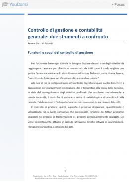 Controllo di gestione e contabilità generale: due strumenti a confronto