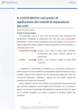 Il costo misto: casi pratici di applicazione dei metodi di separazione dei costi