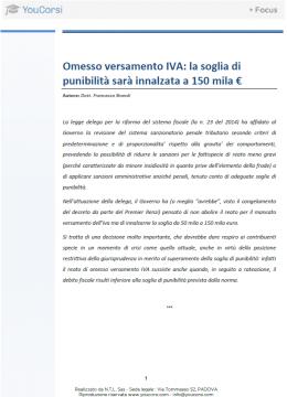 Omesso versamento Iva: la soglia di punibilità sarà innalzata  a 150.000 €