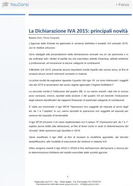 La Dichiarazione IVA 2015: principali novità