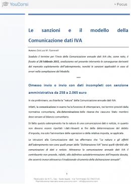 Le sanzioni e il modello della Comunicazione dati IVA