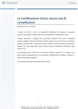 La Certificazione Unica: alcuni casi di compilazione
