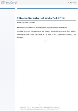 Il Ravvedimento del saldo IVA 2014
