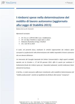 I rimborsi spese nella determinazione del reddito di lavoro autonomo dopo la L. di stabilità 2015
