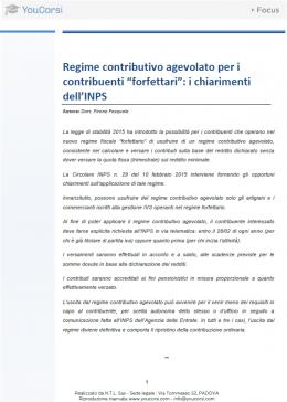"""Regime contributivo agevolato per i contribuenti """"forfettari"""": i chiarimenti dell'INPS"""