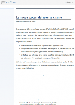 Le nuove ipotesi del reverse charge