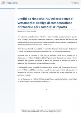 Crediti da rimborso 730 ed eccedenze di versamento: obbligo di compensazione orizzontale per i sost