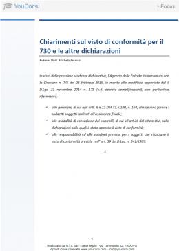 Chiarimenti sul visto di conformità per il 730 e le altre dichiarazioni