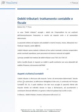 Debiti tributari: trattamento contabile e fiscale