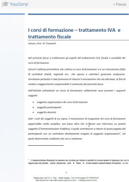 I corsi di formazione: trattamento IVA e trattamento fiscale