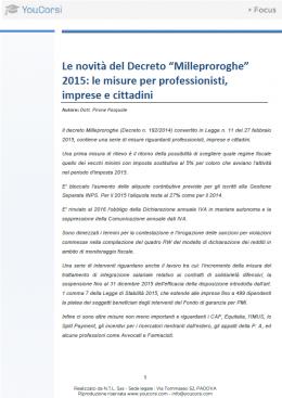 """Le novità del Decreto """"Milleproroghe"""" 2015: le misure per professionisti, imprese e cittadini"""