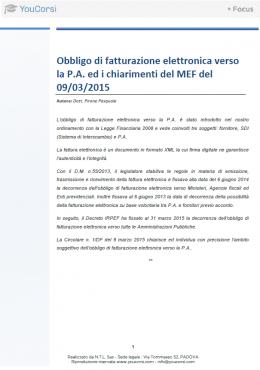 Obbligo di fatturazione elettronica verso la P.A. ed i chiarimenti del MEF del 09/03/2015