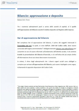 Bilancio: approvazione e deposito