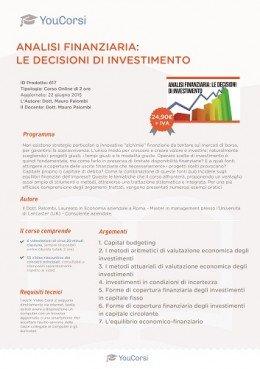 Analisi finanziaria: le decisioni di investimento