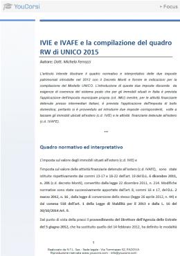 IVIE e IVAFE e la compilazione del quadro RW di UNICO 2015