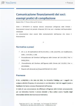 Comunicazione finanziamenti dei soci: esempi pratici di compilazione