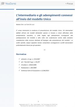 L'intermediario e gli adempimenti connessi all'invio del modello Unico