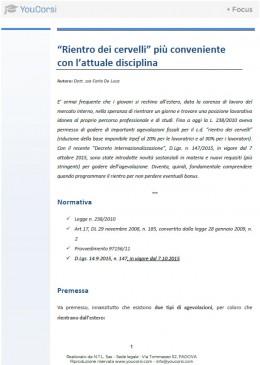 """Agevolazioni fiscali """"Rientro dei cervelli"""" - Decreto Internazionalizzazione D.Lgs. 147/2015"""