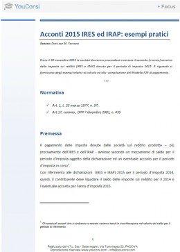 Acconti 2015 IRES ed IRAP: esempi pratici