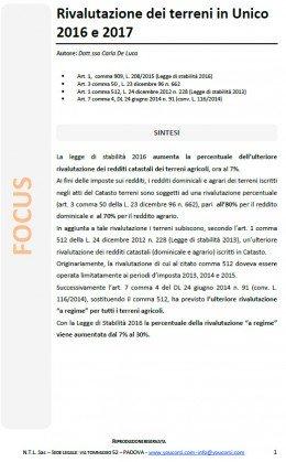 Rivalutazione dei terreni in Unico 2016 e 2017