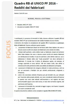 Quadro RB di UNICO PF 2016 - Redditi dei fabbricati