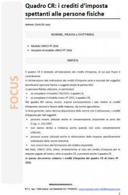 Quadro CR di UNICO PF 2016 - Crediti d'imposta spettanti alle persone fisiche