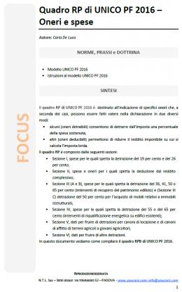 Quadro RP di UNICO PF 2016 – Oneri e spese