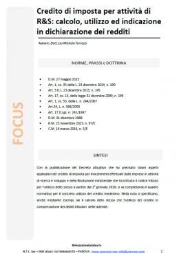 Credito di imposta per attività di R&S: calcolo, utilizzo ed indicazione in dichiarazione dei reddi