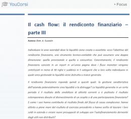 Il cash flow: il rendiconto finanziario - parte III