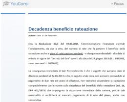 Decadenza del beneficio di rateazione