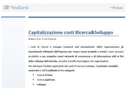 Capitalizzazione dei costi di Ricerca&Sviluppo