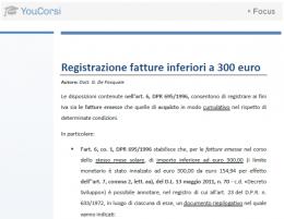 Registrazione fatture inferiori a 300€